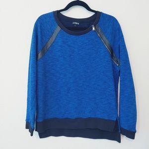 Express Hi-Low Blue/Black Sweater. Size Medium